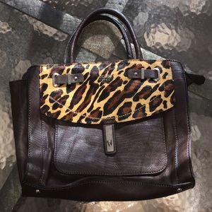 Guess Dark Brown/Animal Print Handbag Soft Medium